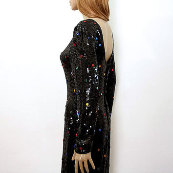 1980s Party Dress / 80s Black Sequin Polka Dot Low Back Dress / Small