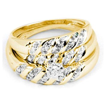 14kt Yellow Gold His & Hers Round Diamond Solitaire Matching Bridal Wedding Ring Band Set 1/12 Cttw - FREE Shipping (US/CAN)