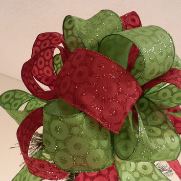 Large Lime Green and Red with glitter circles Ribbon  Christmas Tree topper bow
