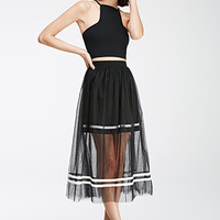 Varsity-Striped Tulle Overlay Skirt