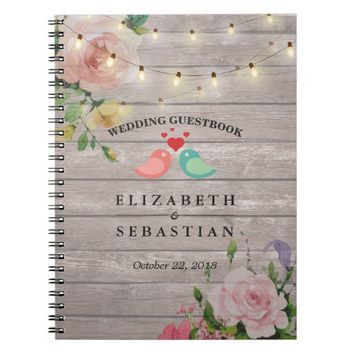 Rustic Wood String Lights Floral Wedding Guestbook Spiral Notebook
