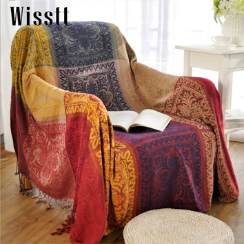 Charmant Bohemian Chenille Blanket Sofa Decorative Slipcover Throws On So