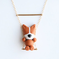 Mocha the Pembroke Welsh Corgi necklace on a swing -14k Gold filled-