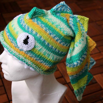Dragon hat, handknit funny hat for older kids and adults, lizard or dragon hat, in yellow, greens and blue