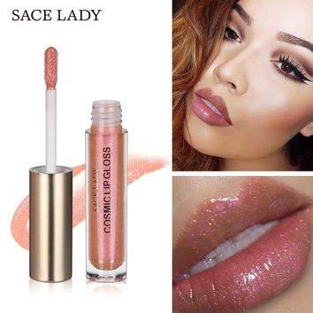 SACE LADY Glitter Lipstick 4 Colors Sexy Liquid Makeup Moisturizer Shine Lip Gloss Pomade Shimmer Make Up Paint Brand Cosmetic