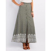 Floral Print Button-Up Maxi Skirt