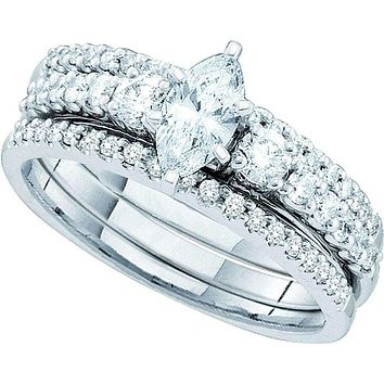 14kt White Gold Women's Marquise Diamond 3-Piece Bridal Wedding Engagement Ring Band Set 1.00 Cttw - FREE Shipping (US/CAN)
