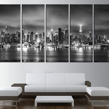 black and white New york skyline canvas wall art print, new york night, extra large wall art, large new york skyline canvas art print t454
