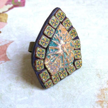 Yellow purple mosaic cocktail ring polymer clay oversize statement ring romantic ring mini flowery tiles
