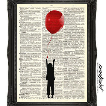 Take Me Away Red Balloon Original Print on an Unframed Upcycled Bookpage