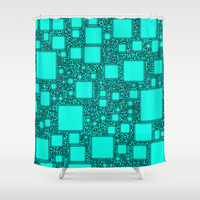 Electronics Blue Shower Curtain by Alice Gosling