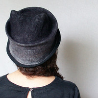 Ombre Black Cat Hat -  Black Fedora for Woman - Hand Felted Hat with Ears