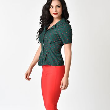 Banned Deep Green & Red Polka Dot Willow Clay Blouse