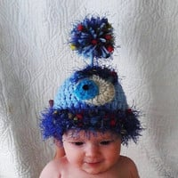 Monster hat  Newborn photo prop  ready to ship by crochetedcuddles
