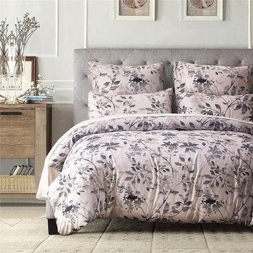 Leaf Printed Duvet Cover Queen King Size Bedspread Cotton Blend Bed Linen  Pillow Case Bedding Kit