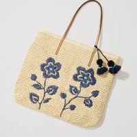 Floral Embroidered Straw Tote | LOFT