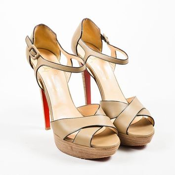 PEAPU2C Christian Louboutin Taupe Leather Sporting 140 Ankle Strap Sandals