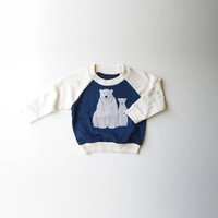 Polar Bears Organic Babies/Kids Raglan in Blue and White