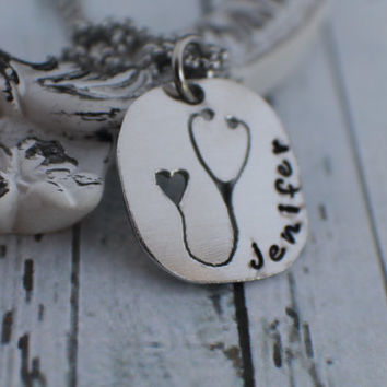 Personalized Hand Stamped Jewelry - Hand Stamped Necklace - Personalized Nurse Necklace Gift - Stethoscope Jewelry