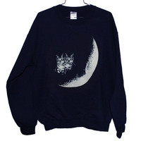Moon Cats Sweatshirt Select Size by BurgerAndFriends on Etsy