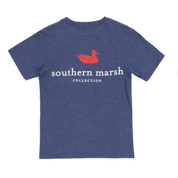 Youth Authentic Tee in Washed Navy by Southern Marsh
