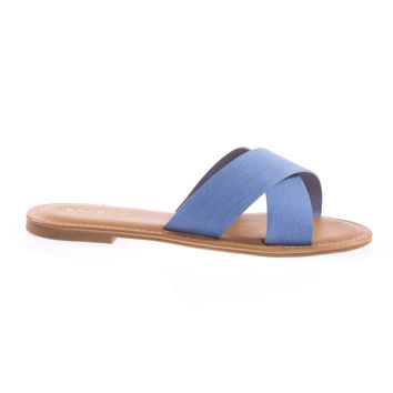 Bayside09s Light Blue Denim By Bamboo Open Toe Flat Sandal, Slide Slipper In Solid Or Floral Prints