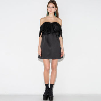 Black Strapless Off-Shoulder Ruffled Dress