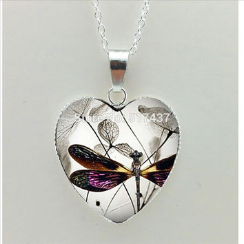 Steampunk Dragonfly Heart Necklace Purple Dragonfly Pendant Jewelry Murano Glass Heart Necklace