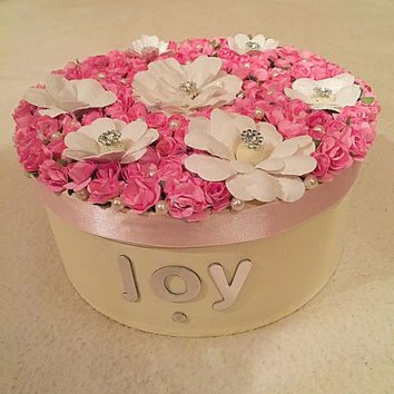 Flower Memory Box, womens Keepsake Box, flower Memory Box, Gold Keepsake Box, Ladies Gift, Gift for Mum, Gift for her