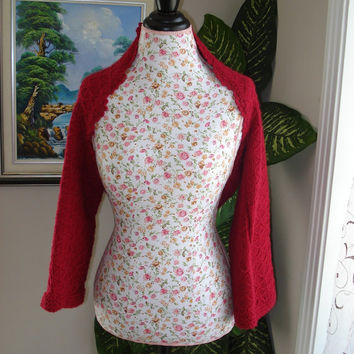 Ready to ship /GORGEOUS Handmade-Hand Knitted My Love is Like a Deep Pink Rose Angora SHRUG