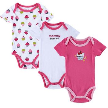 """Newborn Baby Girl Pink Cupcake, """"Mommy Loves Me"""" Set of 3PCS Onesuit Short Sleeve Body Suits"""