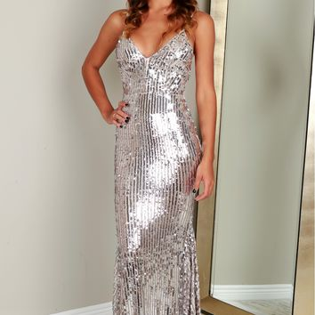 Silver Shimmer Sequin Gown Nude