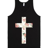 Floral Cross-Unisex Black Tank