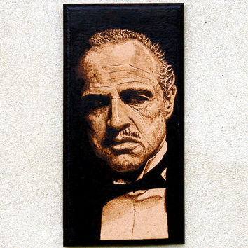 The godfather woodburned wall decoration
