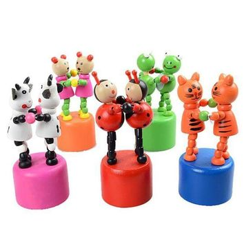 ICIKU7Q Kids Intelligence Toy Dancing Stand Colorful Rocking Giraffe Wooden Toy Wooden spring swing dance toys for children  #YL