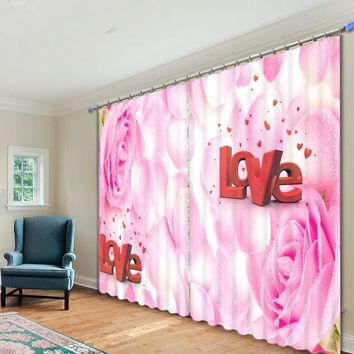 Love Of 2017 Bedroom Living Room Kitchen Home Textile Luxury 3D Window Curtains Gift For Couples And Lovers