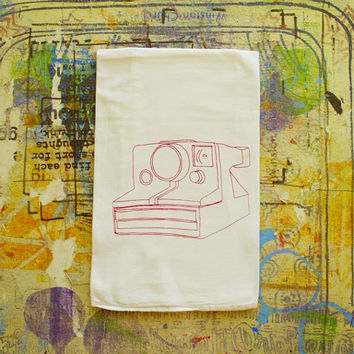 Vintage Polaroid Camera Tea Towel Flour sack Hostess Gift