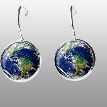 Earth earrings, Earth Jewelry dangle earrings. Gift for Women (MUM) and Girls (sister).