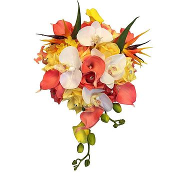 2pc set of Bridal bouquet&Boutonniere-Tropical flowers Calla lily,Orchid,Bird of Paradise,Coral yellow white