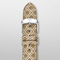 MICHELE 20 mm White and Gold Fashion Patent Strap