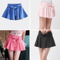 2012 Girl high waist pleated 6 color thin chiffon divided skirts women shorts
