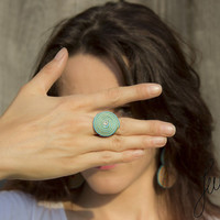 Turquoise, boho chic, braided ring with crystal, adjustable