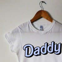 "White/Blue ""DADDY"" Bubble Writing Text T-Shirt Tee Pastel Hipster Daddy Little Girl Dad DDLG Cool Scene Cute Tumblr Pastel Goth Cute Grunge"