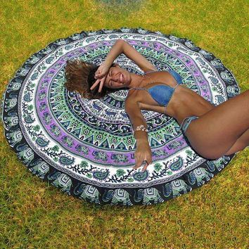 Newest Style Indian Mandala Round Elephant Tapestry Wall Hanging Summer Beach Throw Towel Yoga Mat Decorative Round Beach Towel