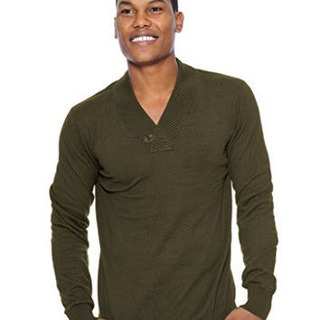 True Rock Mens Shawl Collar Sweater (Olive Green)