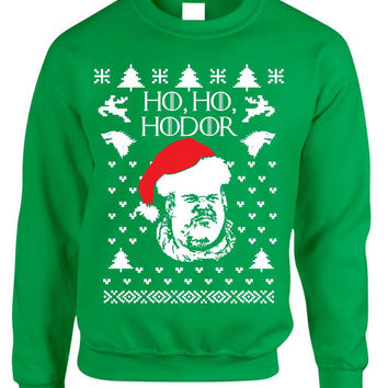 Adult Crewneck Sweatshirt Ho Ho Hodor Ugly Christmas Sweater