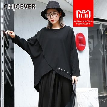 CHICEVER Autumn T-shirts For Women O Neck Batwing Long Sleeve Loose Asymmetric Hem Oversize Tops Female T-shirt Fashion New 2018