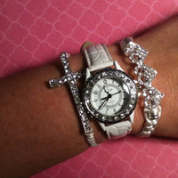 Set of 3 Rhinestone and White Arm Candy Stack Bracelets Watch Included