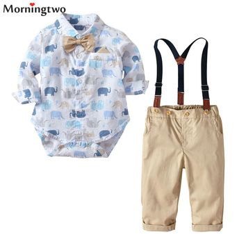 Morningtwo Newly Baby Boys Clothes Set Long Sleeves Romper Shirt+overalls Pants Elephant Printed With Bowknot For 9m-24m