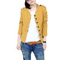 Ladies Single Breasted Button-tab Pure Fall Blazer Coat